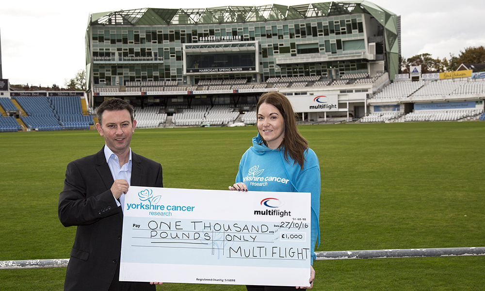 Multiflight donates £1,000 to Yorkshire Cancer Research