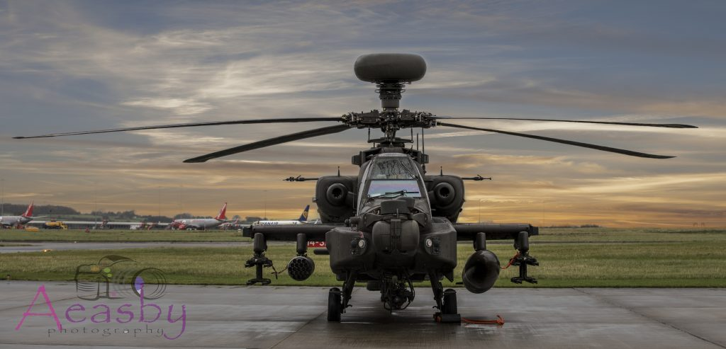 Apache helicopters at Multiflight at Leeds Bradford Airport