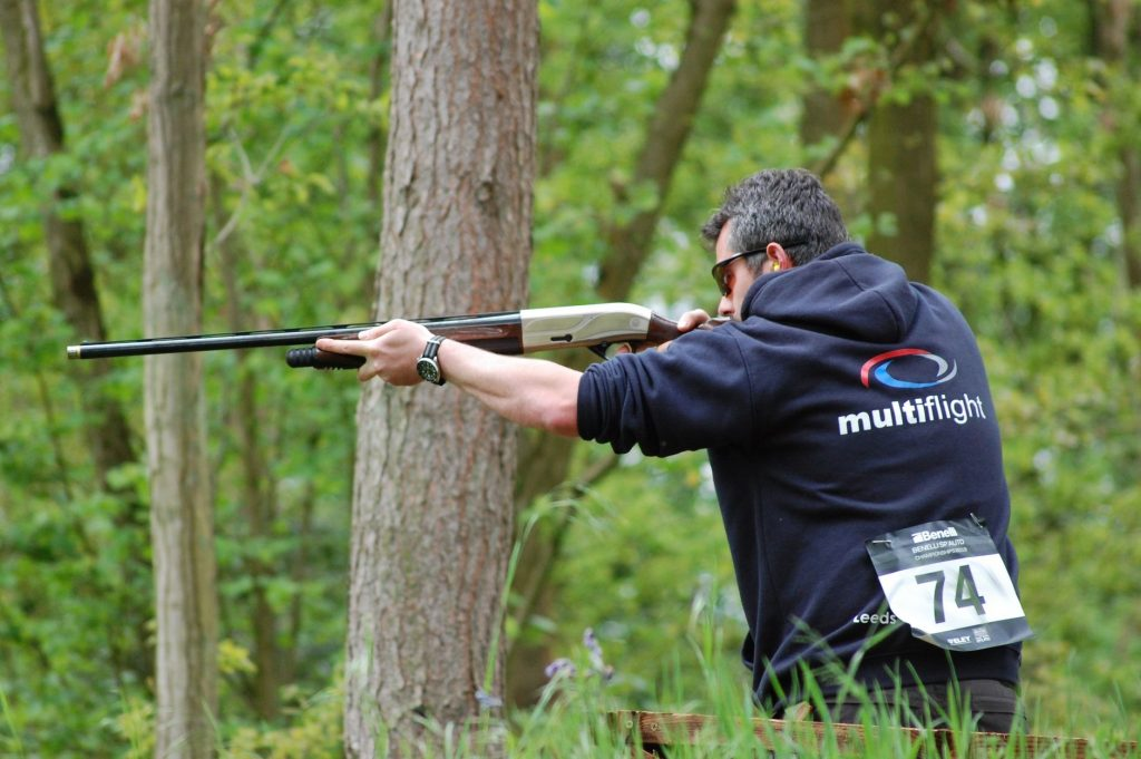 Multiflight's Alec tests clay pigeon shooting skills at Benelli SP' AUTO Championships